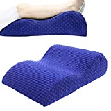 Toparchery Orthopedic Elevated Leg Pillow Bed Wedge Massage Memory Foam Knee Pillow Improved Circulation Sciatic Nerve Pain Relief with Washable Cover (navy blue)