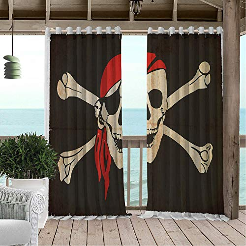 Linhomedecor Gazebo Waterproof Curtains Pirate Flag of Tierra del Fuego Argentina in Grunge Antique Historical Army Green Beige Vermilion Porch Grommets Adjustable Curtain 96 by 84 inch