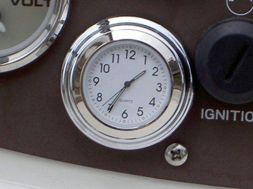 Chrome Stick On Clock White Dial
