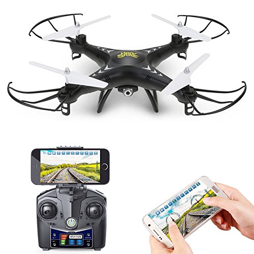 Cheap Holy Stone HS110 FPV RC Drone with Camera 720P HD Live Video WiFi 2.4GHz 4CH 6-Axis Gyro RC Quadcopter with Altitude Hold, One Key Return and Headless Mode Function RTF, Color Black hot sale