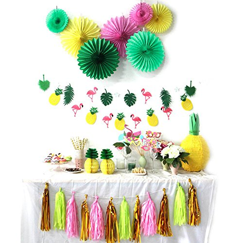 Summer Party Decoration Kit Paper Fans Tropical Party Flamingos and Pineapples Banners Tassel Garlands Hawaiian Luau Beach Supplies SUNBEAUTY 31 - Out Flamingo Cut