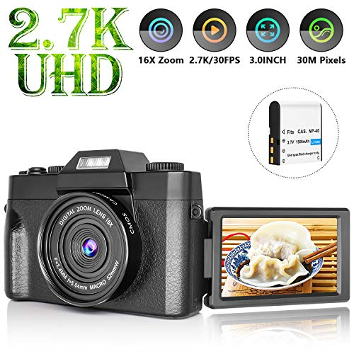 Vlogging Camera with 3.0inch Flip Screen, 30MP Ultra 2.7K HD Video Camera with Flashlight, 16X Powerful Zoom, Suitable for Wedding, Trip, Vlogging, Recording Life