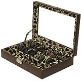 Tech Swiss- TS5440BRN Eyeglass Sunglass Storage Case Brown Leather Box Wild Leopard for 6 Glasses