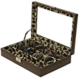 Tech Swiss- TS5440BRN Eyeglass Sunglass Storage Case Brown Leather Box Wild Leopard for 6 Glasses