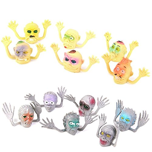 sea-junop Plastic Ghost Head Finger Colorful Puppets Halloween Party Toys Set of 12pcs -