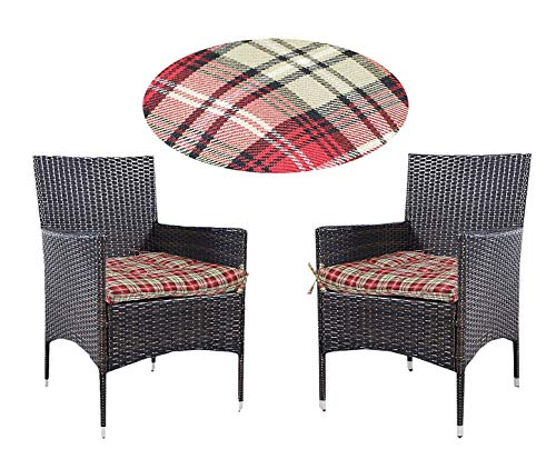 Prettyshop4246 Wicker Warm Cushion Seat Pad Indoor Outdoor Poolside Home Garden Patio Backyard Balcony Linen Fabric Made in USA Product Soap Maintain Easy Clean Red Scott Color Set of 2 Pcs by Prettyshop4246 (Image #10)
