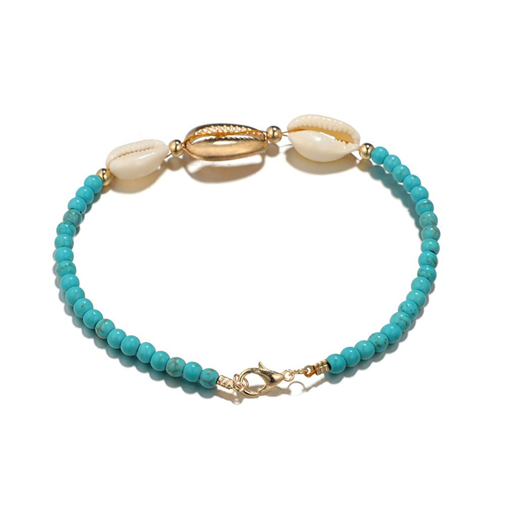 Fashion Women Faux Turquoise Beaded Shell Foot Bracelet Anklet Jewelry Decor Valentines Day//Wedding//Party//Anniversary//Holiday//Mothers Day//Birthday Gifts Bluelans Anklets