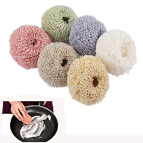 Dushi Nano Fiber Dish Scrubber Non-Scratch Scouring Pads for Non-Stick Cookware Scourer, Assorted Colors, 6 Pieces