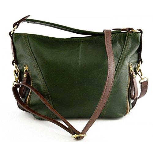 Borsa Donna A Tracolla In Pelle Colore Verde E Marrone - Pelletteria Toscana Made In Italy - Borsa Donna