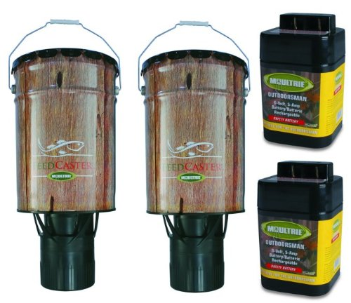 2) Moultrie 6 Gallon Automatic Pond Fish Feeders + 2) 6V Rechargeable Batteries by Moultrie