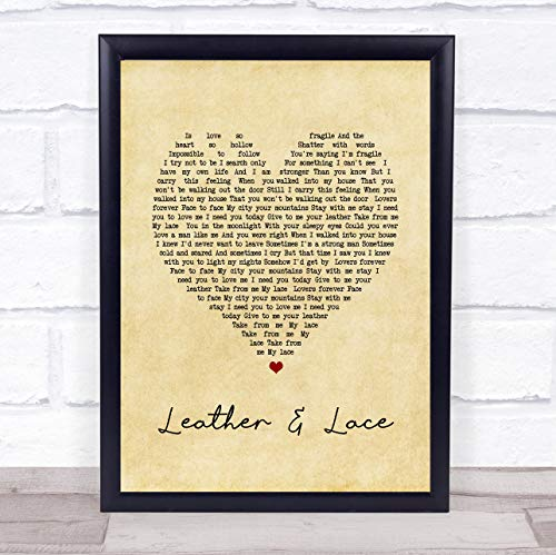 Leather and Lace Vintage Heart Song Lyric Quote Print