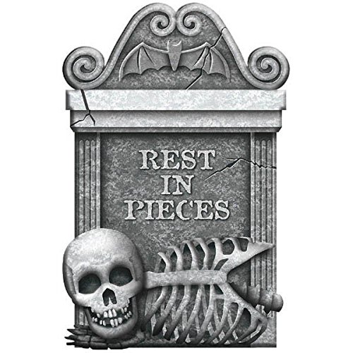 Creepy Cemetery Halloween Party Rest In Pieces Tombstone Decoration, 1 Pieces, Made from Foam, Black & Gray, 22