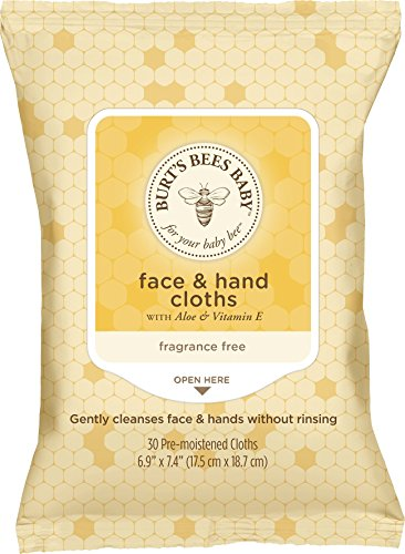 Burt's Bees Baby Face & Hand Cloths, 30 Count (Pack of 12) (Packaging May Vary)