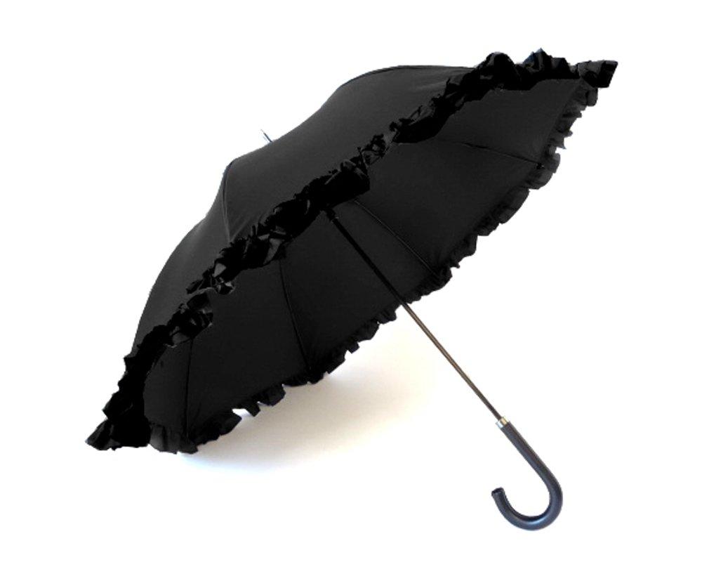 クラシコ 遮光100% 晴雨兼用 日傘 uvカット 100% 遮光 遮光 紫外線カット 紫外線対策 清涼効果 コーティング 二重生地 ダブルフリル 傘 かさ カサ レディース ショートタイプ B06Y5VRZWR 03 ブラック×ブラック 03 ブラック×ブラック