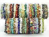 "jennysun2010 Natural Gemstone 5-8mm Freeformed Chip Beads Stretchy Bracelet Healing Reiki Chakra 6.5""inches 7""inches 7.5""inches 8""inches"