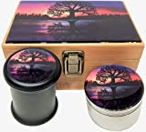Tree of Life Stash Box Combo - Large 4 Part Grinder 2.5'' w/Glass stash jar Wood Stash Box Tree Reflection (Reflection Tree)