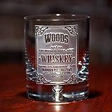 Engraved Ravenscroft Crystal Double Old Fashioned Bourbon Whiskey Rocks Glasses SET OF 2 (wskylabel)