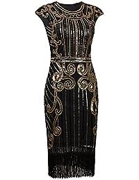 1920s Vintage Inspired Sequin Embellished Fringe Long...