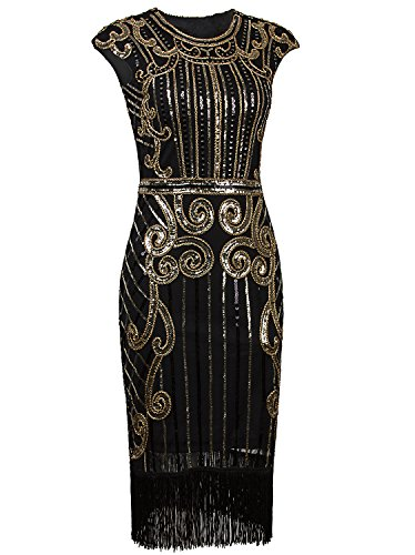 Vijiv 1920s Vintage Inspired Sequin Embellished Fringe Long Gatsby Flapper Dress,Glam Gold/Black,Medium