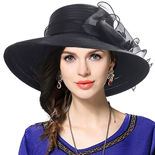 VECRY Womens Dressy Church Baptism Wedding Derby Hat (Black),M(56-58cm) ()