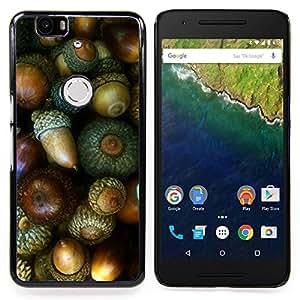 Nut Green Autumn Acorn Caja protectora de pl??stico duro Dise?¡Àado King Case For Huawei Nexus 6P