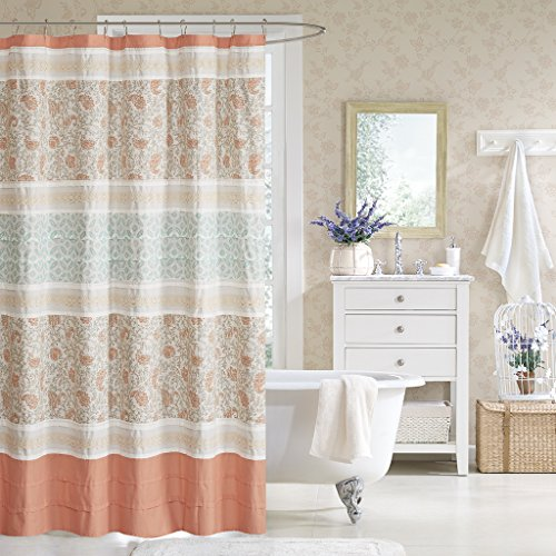 Madison Park Dawn Shower Curtain, 72x72, Coral