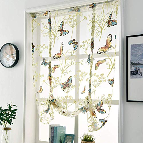 (WUBODTI Tie Up Window Shade Curtains, Elegant Vintage Butterfly Floral Print Voile Sheer Small Window Curtain Drapes, Balloon Valance Window Treatment Rod Pocket,1 Panel, 32''W x 47''L)