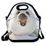 Reusable Picnic Lunch Bags Lunch Tote Baby Harp Seal Lunch Box For Men Women Adults Kids Toddler Nurses