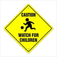"""Caution Watch for Children Crossing Sign Zone Xing   Indoor/Outdoor   12"""" Slow Playing at Play Safety"""
