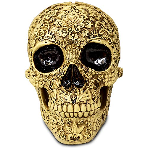 Aztec Death Skull Figure Life Size Floral Carved Resin Calavera Day of The Dead Mexican Skull Home Decor