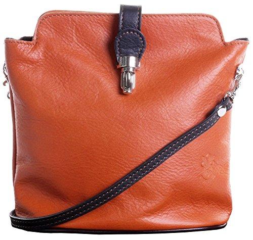 - Primo Sacchi Italian Leather Hand Made Adjustable Strap Cross Body or Shoulder Bag Handbag (Small, Tan & Brown)