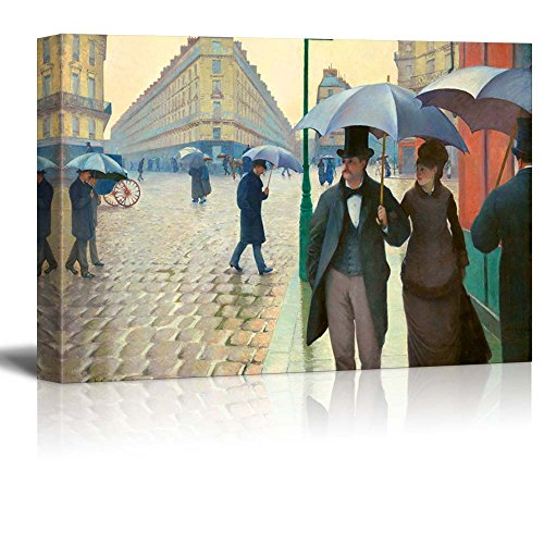 Paris Street; Rainy Day by Gustave Caillebotte - Canvas Wall Art Famous Fine Art Reproduction| World Famous Painting Replica on Wrapped Canvas Print Modern Home Decor Wood Framed & Ready to Hang - 24