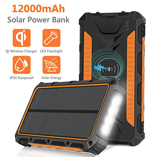 Solar Charger, 12000mAh QI Wireless Solar Power Bank Portable Chargers External Battery Pack Charger, 3 Output Ports 4 LED Flashlight, Solar Panel Charging for Travel, Camping, Emergency (Best Portable Charger For Hiking)