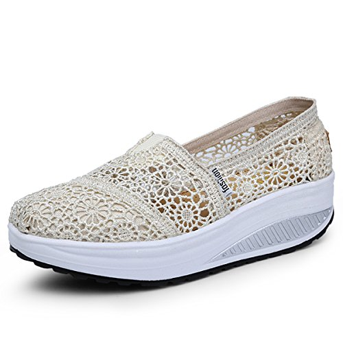 Sommer Wedges beige Schuhe Mesh Atmungsaktiv Loafers A Freizeitschuhe Damen Keilabsatz Laufschuhe Slip Sneaker Netz on Plateau oberfläche nxTaq5H7