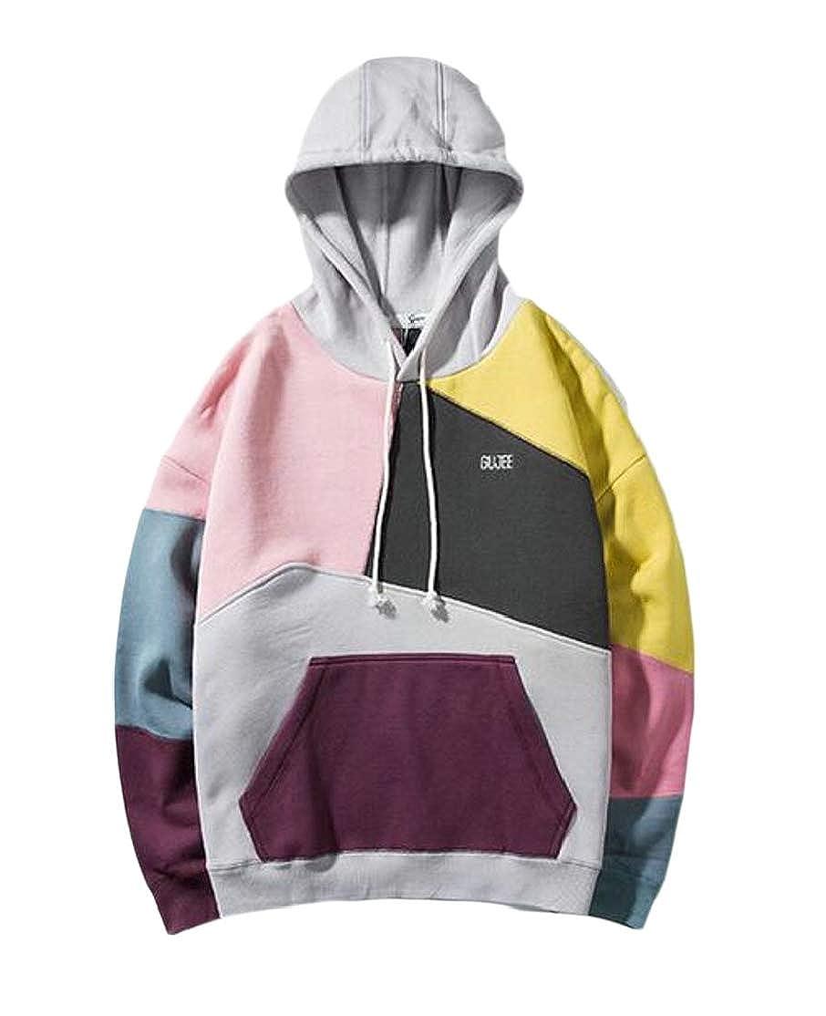 Cromoncent Mens Star Printed Camo Drawstring Pocket Pullover Hooded Sweatshirts