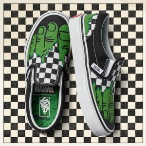 Vans Classic Slip-On (Marvel) Hulk/Checkerboard VN0A38F7U44 Mens 7, Womens 8.5
