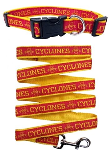 Iowa State Cyclones Nylon Collar and Matching Leash for Pets (NCAA Official by Pets First) Size Large by Pets First