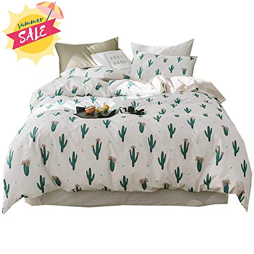 - Cotton Flower Cactus Duvet Cover Set Twin Kids Girls Floral Bedding Set Reversible Wave Striped Duvet Comforter Cover Set for Children Teens Adults 1 Duvet Cover with 2 Pillowcases Twin Bed