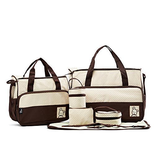 SoHo- Brown Diaper bag with changing pad 6 pieces ()