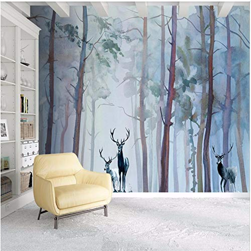 Wall Mural 3D Wallpaper Woods Moose Hand Painted Watercolor Modern Living Room Bedroom Tv Wall Decor