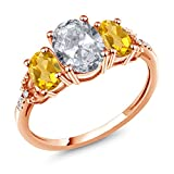 2.14 Ct Oval White Topaz Yellow Citrine 10K Rose Gold Diamond Accent Ring