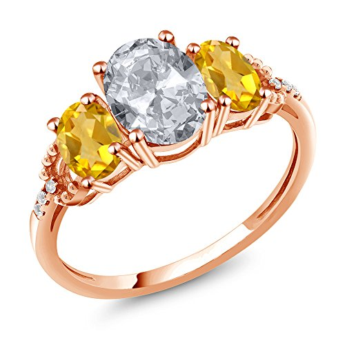Oval Citrine Diamond Accent Ring - Gem Stone King 2.14 Ct Oval White Topaz Yellow Citrine 10K Rose Gold Diamond Accent Ring (Size 6)