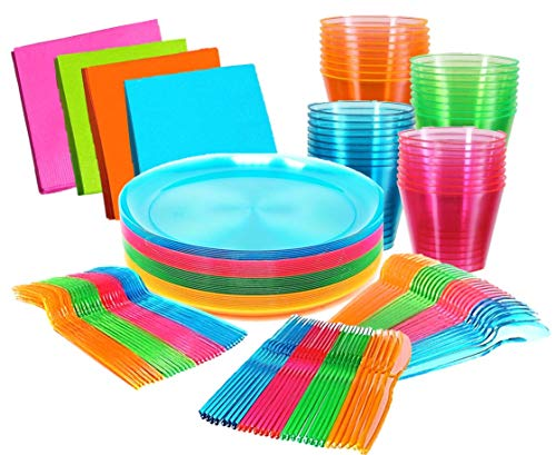 Bright Neon Party Supplies Set - Serves 32 Guest, Includes Plates 9