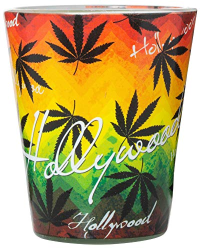 Hollywood Pot Leaf Rasta Colors Full Wrap Souvenir Shot Glass