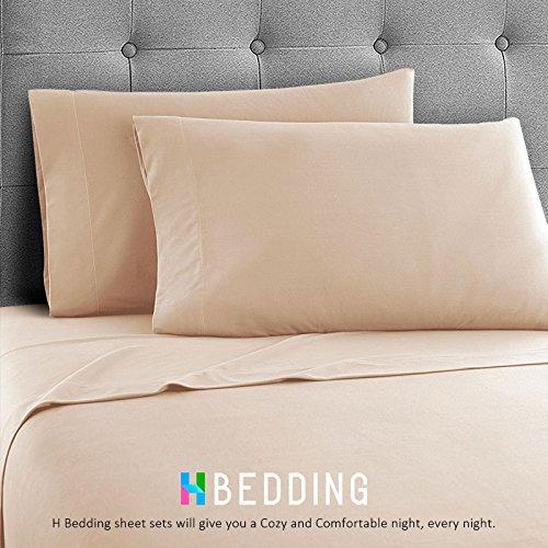 H Bedding Bed Sheet Set, 4pcs Solid Color Deep Pocket Brushed Microfiber 1800 Bedding