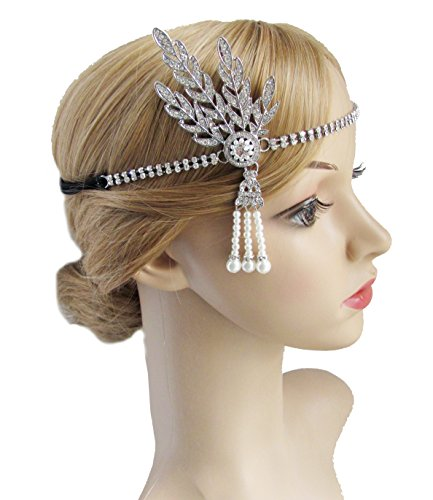 [Kathyclassic Art Deco 1920's Great Gatsby Inspired Leaf Medallion Pearl Headpiece Headband (Silver)] (The Great Gatsby Costumes To)