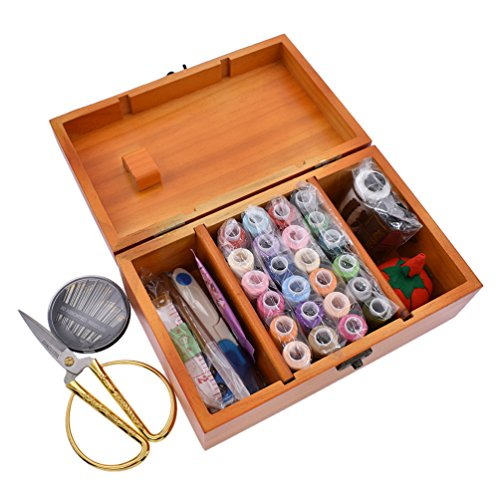 Sewing Kit Supplies For Kids Travel Emergency With Vintage Closure Wood Box Gift