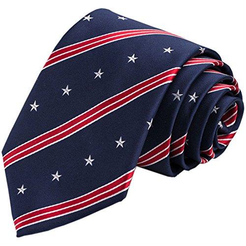 KissTies US Flag 63'' Extra Long Silk Tie Blue Patriotic Necktie + Pocket Square