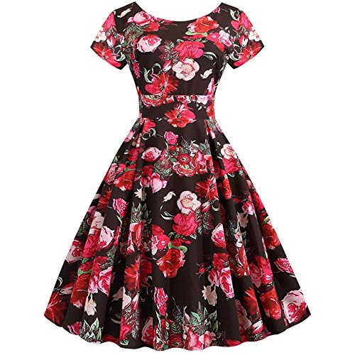 Old 97 Company Products (Aniywn Party Swing Prom Dress, Women Vintage Short Sleeve Elegant Floral Print Evening Cocktail Dresses)
