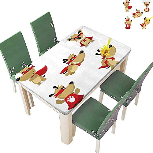 Polyesters Tablecloth Superhero Puppy with Paw Costume and Mystic Powers Laser Vision Supreme Talents Wedding Birthday Party 50 x 72 Inch (Elastic Edge)